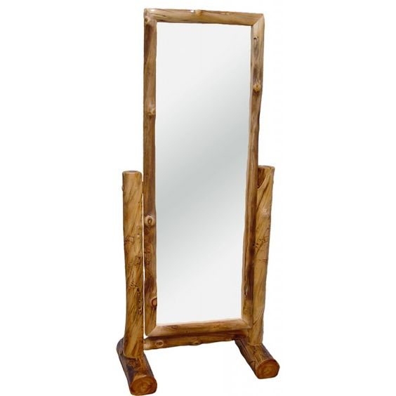 Rustic Aspen Log Cheval Mirror with Stand