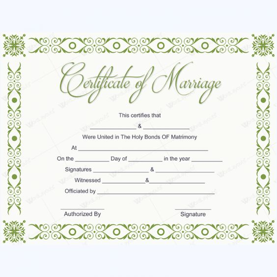 Simple Marriage Certificate Template #marriage #certificate - marriage certificate template