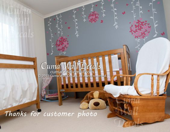 Marvelous Baby Girl Wall Decal Nursery Wall Sticker Butterfly Flower Wall Decor   Butterfly Floral Ball Z108 Part 31