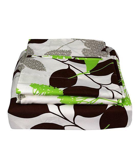 Green & Brown Floral Four-Piece Sheet Set