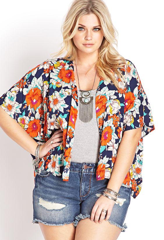 Tropical Floral Woven Kimono | FOREVER21 PLUS - 2000088415