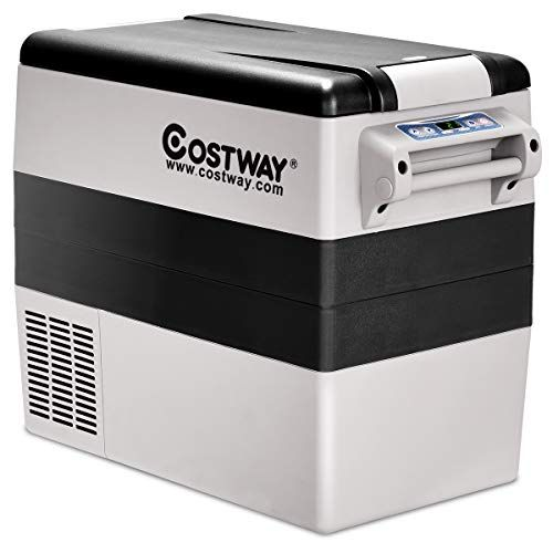 Costway 54 Quart Portable Refrigerator Freezer Compact Vehicle Car Mini Fridge Electric Cooler For Truck Part Portable Refrigerator Car Cooler Car Refrigerator