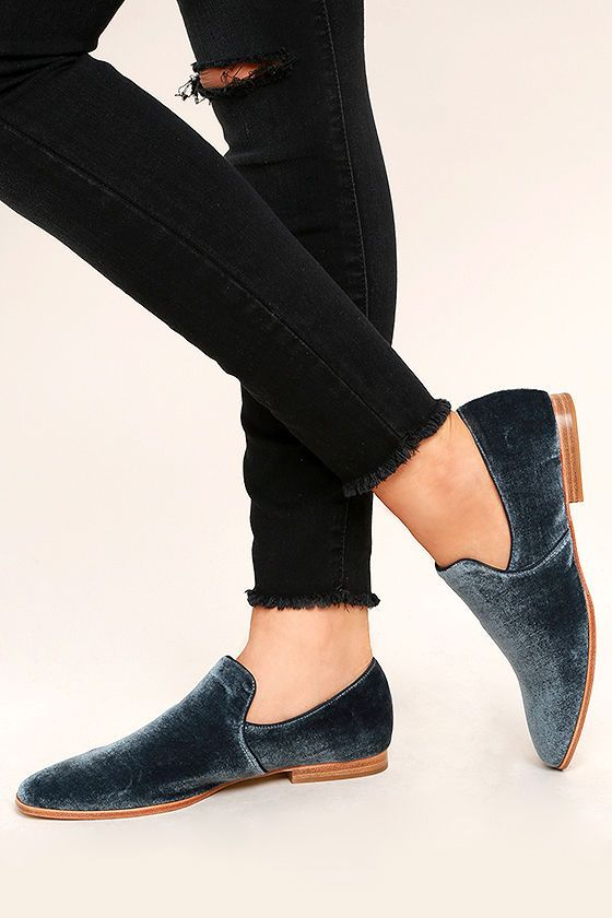 107af047c4b The Steven by Steve Madden Adrianna Blue Velvet Loafers are the best of  both comfortable and