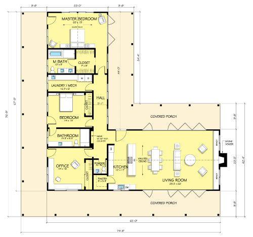 Casa Tipo L De Dos Dormitorios Planos Pinterest