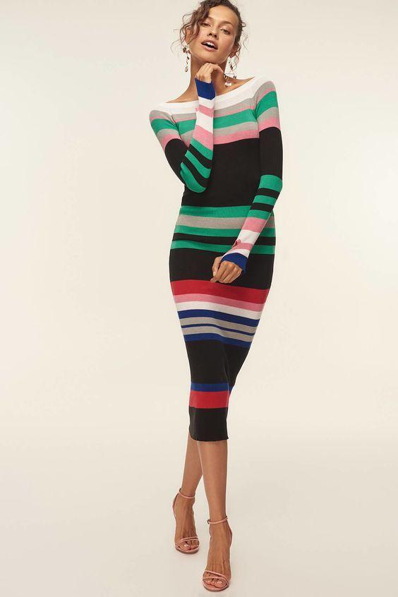2021 Uzun Triko Kazak Elbise Kombinleri Siyah Midi Kayik Kaya Renk Bloklu Elbise Pembe Topuklu Ayakkabi Moda Stilleri Mutevazi Moda Triko