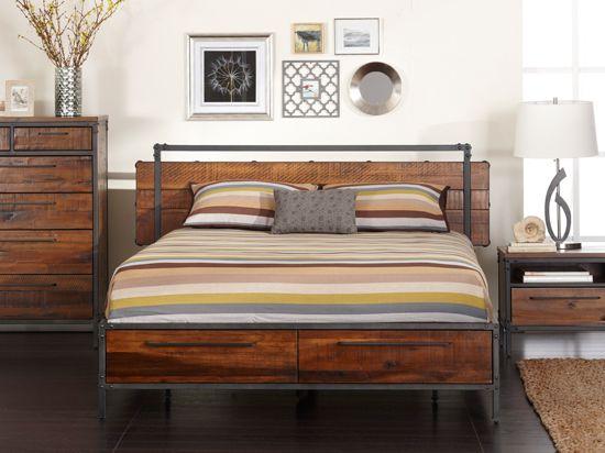 Scandinavian Designs Insigna Bed, Wood Metal Bedroom Furniture