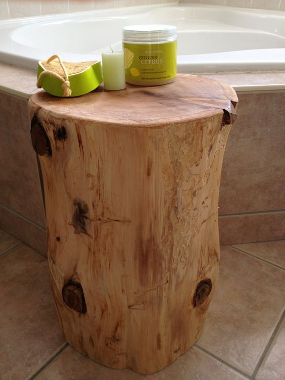 Stump End Table - Cedar Stump in bathroom ensuite www.serenitystumps.com