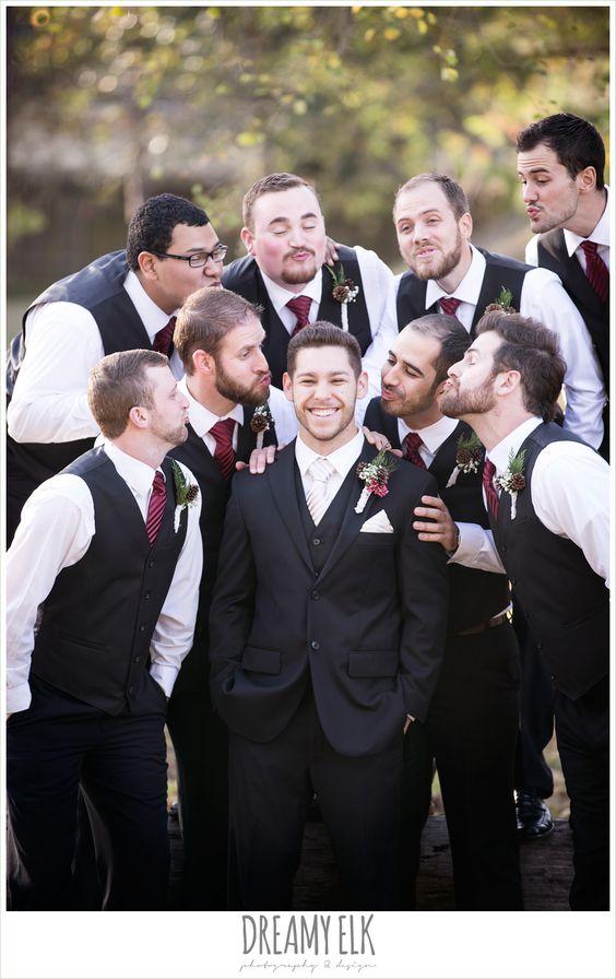 funny groomsmen photo, groom and groomsmen, vests and ties,