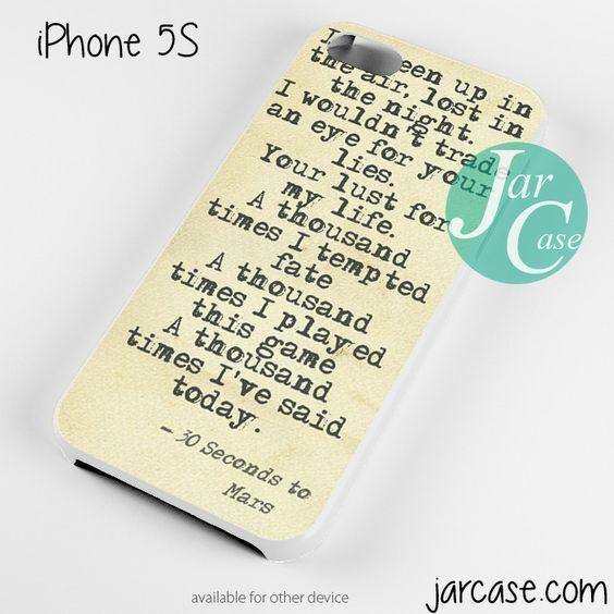 30 Seconds to Mars Lyrics 1 Phone case for iPhone 4/4s/5/5c/5s/6/6 plus