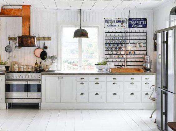 Muebles de cocina blancos : via MIBLOG