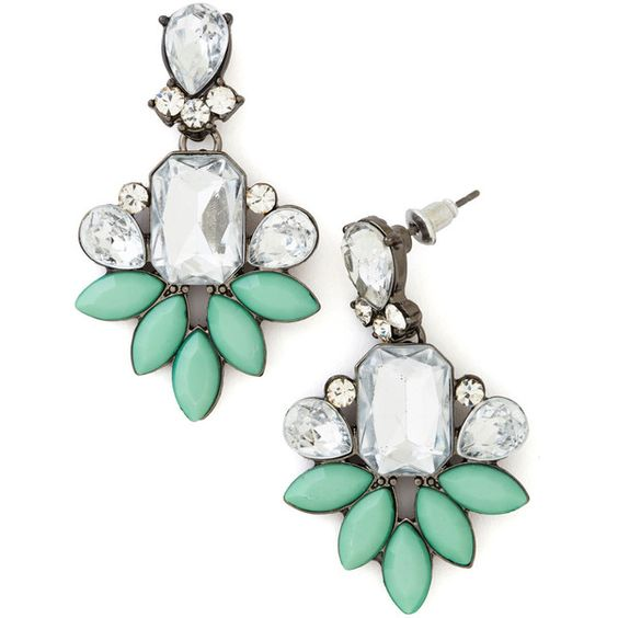 Vintage Inspired Deco Darling Earrings by ModCloth (¥1,850) ❤ liked on Polyvore featuring jewelry, earrings, accessories, modcloth, brincos, mint, 1920s earrings, clear crystal earrings, retro earrings and glitter earrings