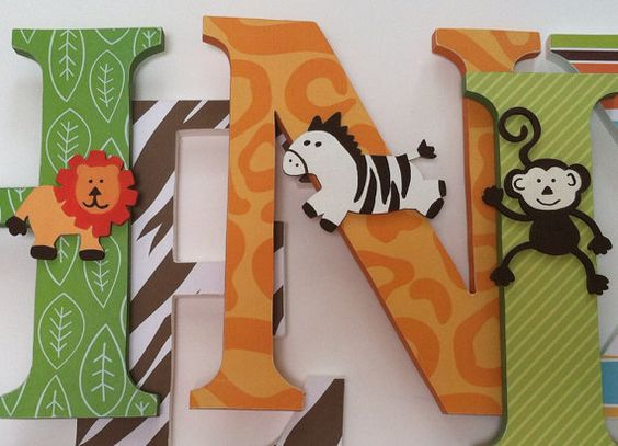 wooden letters for jungle themed nursery | Nursery wooden wall letters Jungle theme by SummerOlivias
