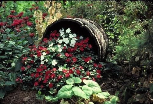 Gartendeko altes weinfass holz blumen pflanzen effekte for Gartendeko katalog