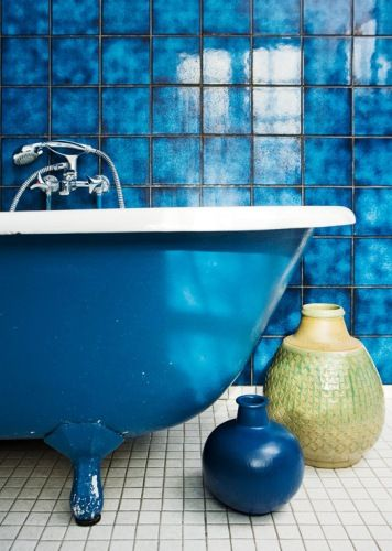 A bathroom for me ode to blue pinterest blue tiles - Cobalt blue bathroom accessories ...