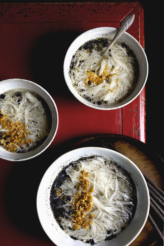 longevity noodles with black sesame and crispy shallots: