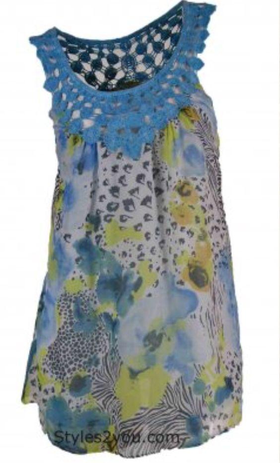 Blue Tassel Sky Blue Crochet Top