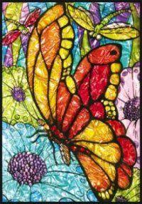 beautiful butterfly in glass