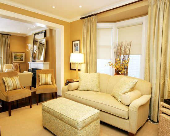 Curtains For Bay Windows In Living Room Living Room With Peach Sofa Curtains Also Table Lamp