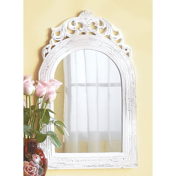 "20"" Shabby Distressed White Wood Wall Mirror Country Chic Home Decor"