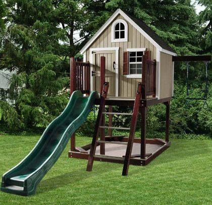 Play houses outdoor play and treehouse on pinterest for Childrens wooden playhouse kits