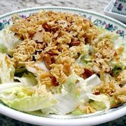"""Napa Cabbage Salad   """"This is a yummy, crunchy cabbage salad with toasted ramen noodles and almond slivers. The bowl is always licked clean at potlucks!"""""""