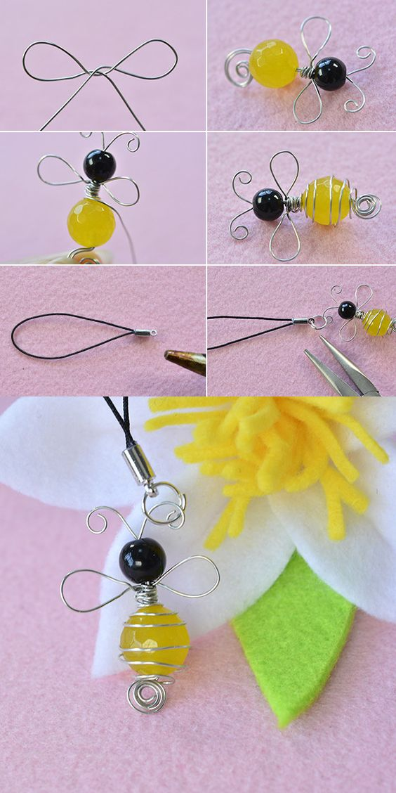 Wire and beads bee ornament, need it? LC.Pandahall.com will publish the tutorial soon.               #pandahall: