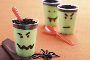 Vanilla jell-o, green food coloring, oreos, and a sharpie!