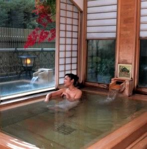japanese bathtub--would love to have one. i could stay in and steam like a dumpling.  :)
