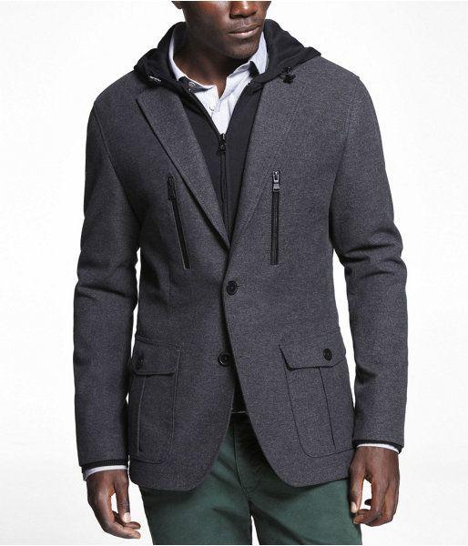 @Catalog Spree: EXPRESS Mens Moleskin Hooded Jacket Gray, Medium - EXPRESS