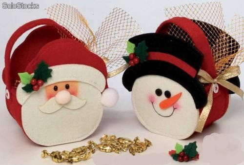 Molde de santa claus en fieltro bomboneras fieltro papa for Figuras de nieve navidenas