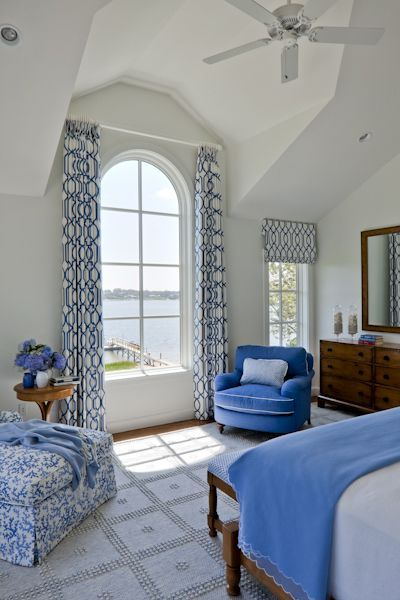 Coastal Bedroom photo by SLC Interiors (curtain idea for our arched bedroom window):