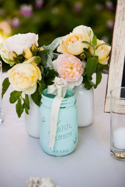 Painted Mason Jars by BeachBlues on Etsy Photography by janaeshields.com Floral Design by poppystonedesigns.com