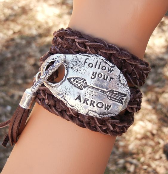 Best BOHO CHIC Jewelry, Modern Hippie Style Bohemian Fashion Leather Wrap Bracelet, Follow Your ARROW, by HappyGoLicky $125   Coupon code PIN10 saves you 10% now- just CLICk #gypsy #inspirationalquote