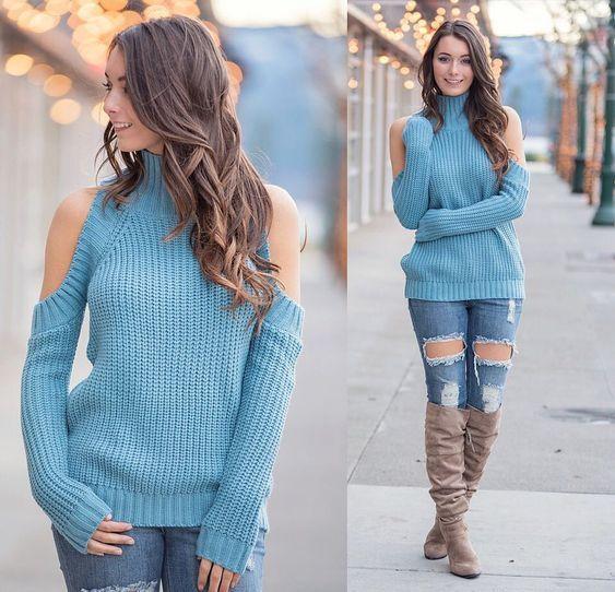 2019 Sokak Kombinleri Mavi Yirtik Kot Pantolon Mavi Bogazli Kazak Kahverengi Uzun Cizme Sevimli Kiyafetler Yirtik Kotlar Uzun Cizme