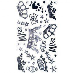 Cute Crown Star Candy Pattern Waterproof Tattoo Sticker