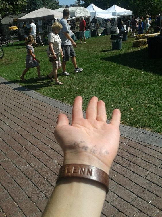Leather bracelet personalized by Branson's Designs at Frankfort Fall Festival