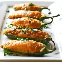 Cute! Cornbread batter baked in lil tiny bitesized jalapeno boats... do 'em with cheese, and they'd be a nice appetizer...