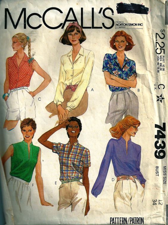 McCall's 7439 M7439 Top Shirt Blouse  Juniors Women's Misses' sewing pattern @TimeTravelStyle #timetravelcostumes