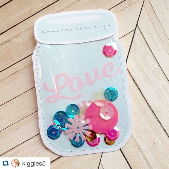 We had to repost this Silhouette CAMEO project by @kiggies5 ・・・ She made mason jars for pocket letters! You can lift the lid and use the sequins! Such a fun and creative idea. #silhouetterocks