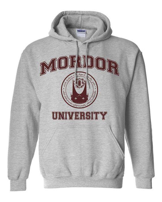 Université de Mordor Hobbit parodie Hoodie Sweatshirt par ShirtNic, $27.95