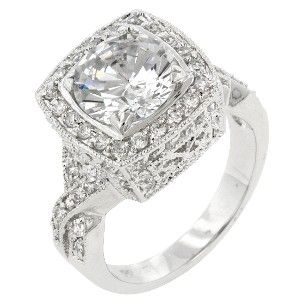 White Gold Rhodium Bonded Classic Style Ring with Filigree accent and Prong Set Clear CZ in Silvertone