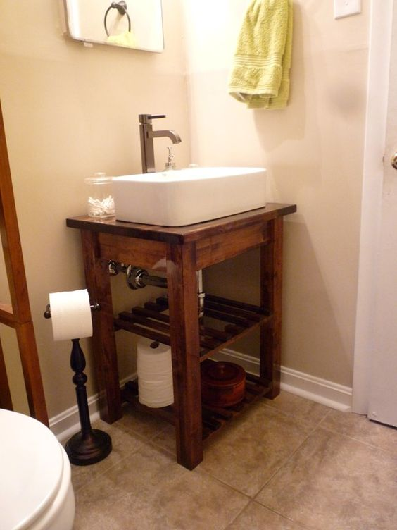 Diy step by step bathroom vanity thinking would look nice for Nice small bathrooms