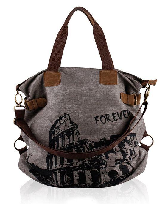 UUstar® Damen Frau vintage Schultasche Canvas Handtasche Rucksack Umhängetasche Reisetasche Ipad Kameratasche Schule Tasche (Grau)