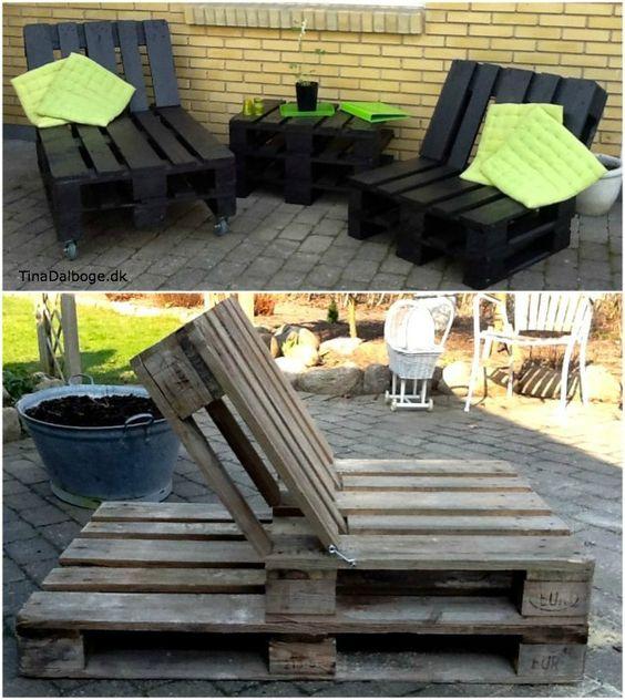 Hjemmelavede møbler   solvogn med kraftige møbelhjul under og en ...