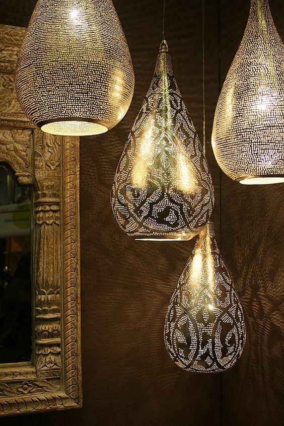orientalische lampen birnenförmig goldglänzend
