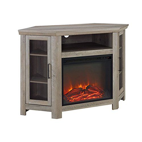 Walker Edison 48 Wood Corner Fireplace Media Tv Stand Console