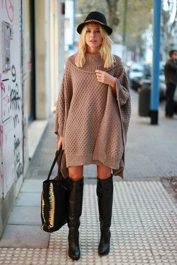 Look by Naima. Maxi sweater dress. Tan and Black. Boots and hat. Boho style. Oversized
