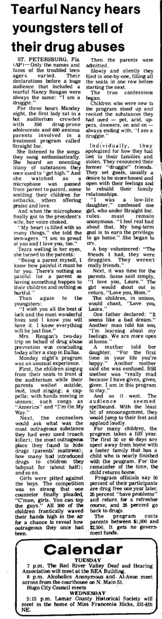 Nancy Reagan & Straight Inc, Texas, Feb 1982