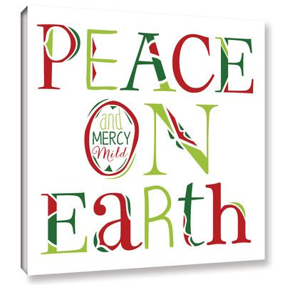 ArtWall 'Peace on Earth on White' by Longfellow Design Textual Art on Wrapped Canvas Size: