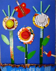 Cool idea for earth day and learning about recycling making a picture with items brought in or that would be thrown away.    Green Crafting with 20 Spring Crafts for Kids from @AllFreeKidsCrafts